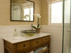 Neutral Transitional Bathroom With Chinese Cabinet Vanity