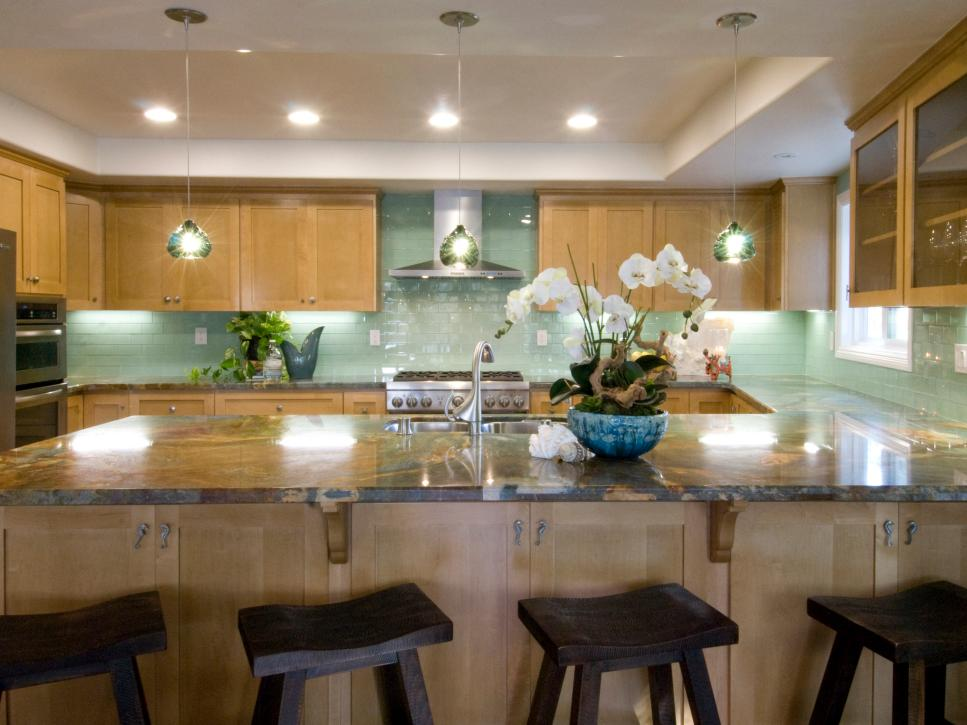 Neutral Kitchen With Green Backsplash