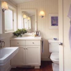 Chic Cottage Bathroom With Beadboard Walls