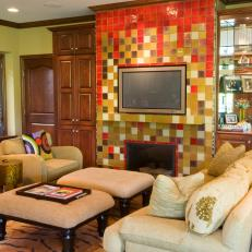 Colorful Tiled Fireplace in Eclectic Living Room