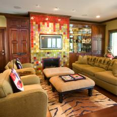 Global Living Room With Multicolor Barcelona-Style Hearth