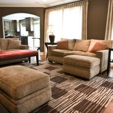 Brown Hues Create Warmth in Transitional Living Room