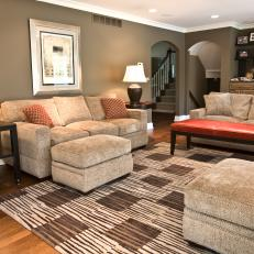 Transitional Living Room With Plush Neutral Sofas