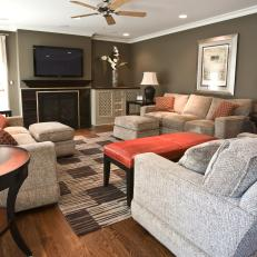 Transitional Living Room With Mounted Flatscreen TV