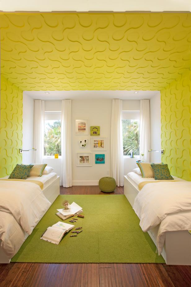 Shared Kids' Bedroom With Yellow Textured Walls