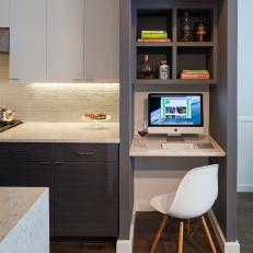 Sleek Modern Kitchen With Small Built-In Desk