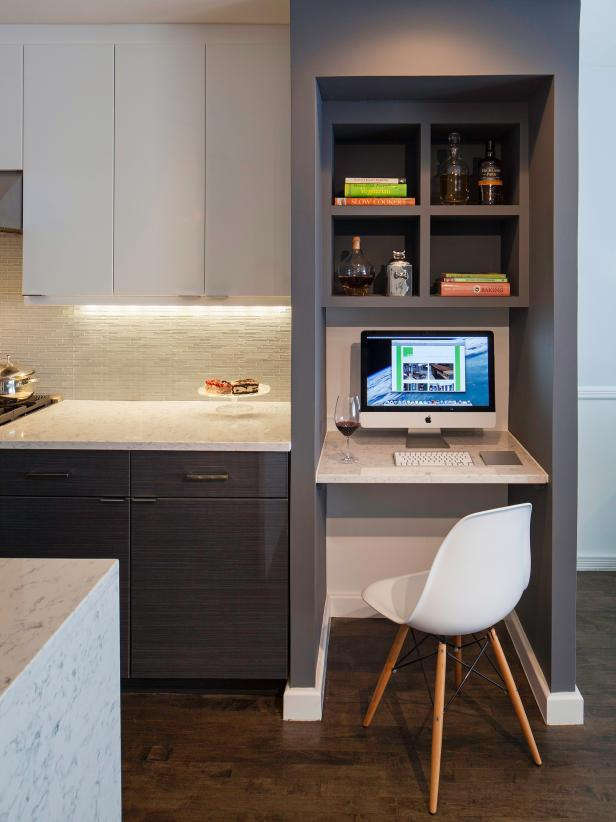 Small Built-In Desk With Eames Chair in White Modern Kitchen