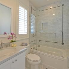 Traditional Neutral Bathroom With Carrara Marble Tile Shower