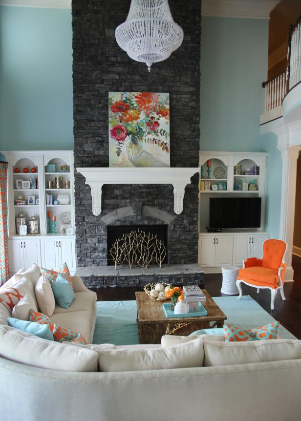 Transitional Aqua Living Room With Gray Stone Fireplace