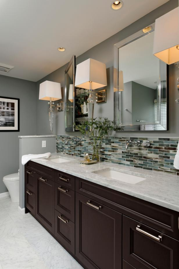 gray contemporary hotel style bathroom with double vanity