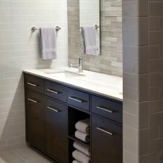 Brown And White Bathroom. Modern White Bathroom With Dark Brown Vanity Photos  HGTV