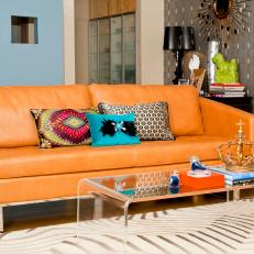 Blue Eclectic Living Room With Retro Style