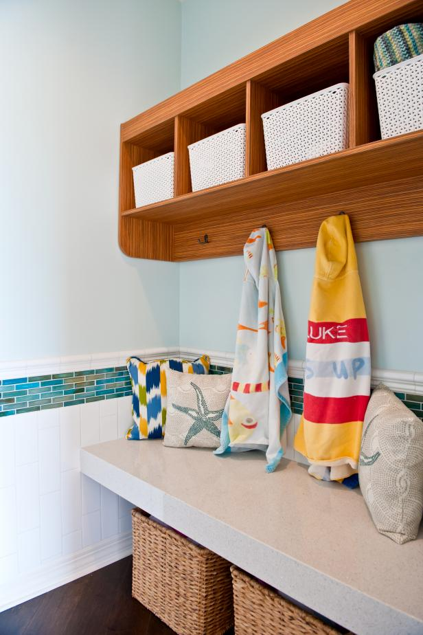Light Blue Coastal Mudroom With Open Shelving and Coat Hooks