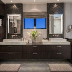 Contemporary Spa Like Bathroom With Long Double Vanity