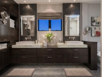 Contemporary Spa-Like Bathroom With Long Double Vanity