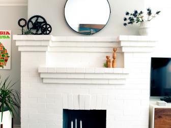 White Brick Living Room Fireplace