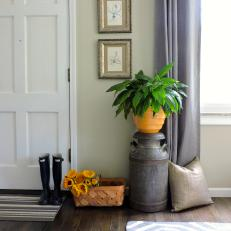 Neutral Contemporary Entryway With Metal Urn and Yellow Flower Pot