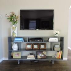 Open Gray Media Console in Neutral Contemporary Living Space