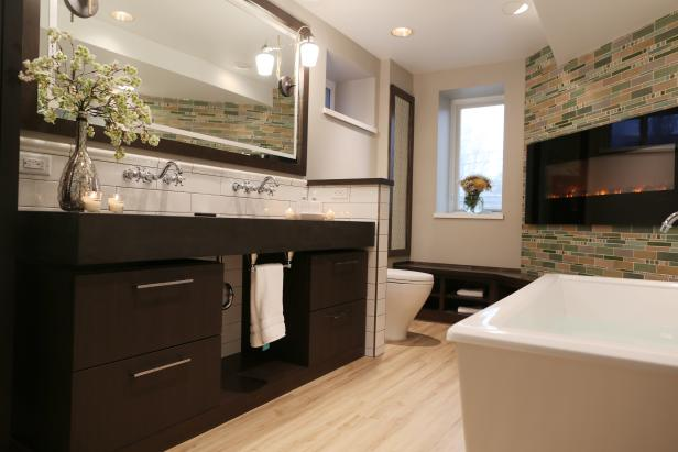 Neutral Contemporary Bathroom With Floating Vanity and Tile Fireplace