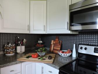 Textured Backsplash in Compact Kitchen