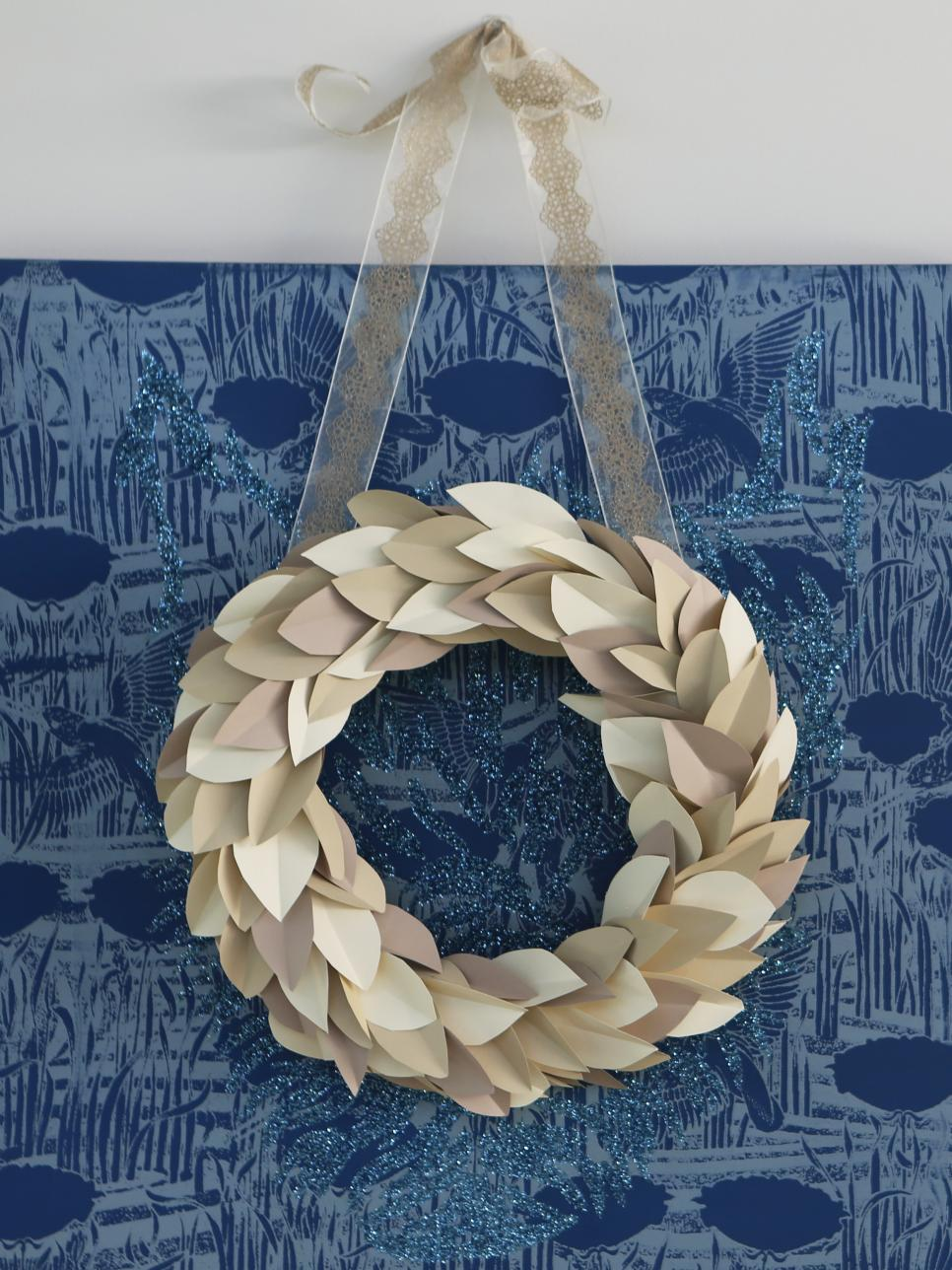 Neutral Contemporary Paper Leaf Wreath on Blue Canvas Print