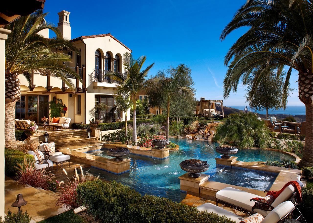 Mediterranean Backyard With Luxury Pool Hgtv