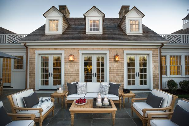 Sturdy Patio Furniture With White Cushions Outside Cape Cod