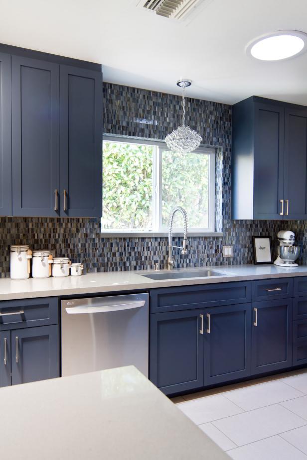 Blue Midcentury Modern Kitchen With Pental Quartz