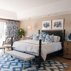 Cozy Master Bedroom With Graphic Blue Accents