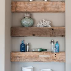 Rough-Hewn Natural Wood Shelves With Decor
