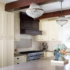 Elegant Eat-In Kitchen With Miniature Chandeliers