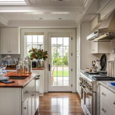 Great Stunning White Kitchen With French Doors Design Ideas