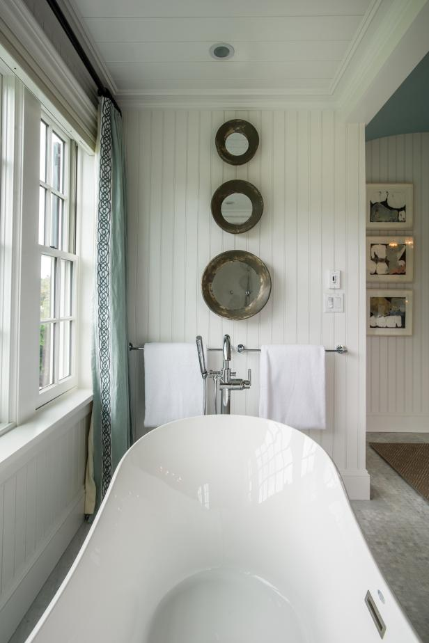 Master Bathroom With Artistic Mirrors Over Bathtub | HGTV on Contemporary:kkgewzoz5M4= Small Bathroom Ideas  id=30727
