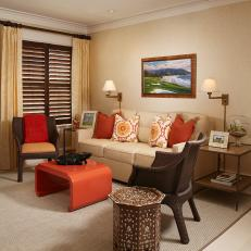 Tropical Beige Living Room With Burnt Orange Accents Photos Hgtv
