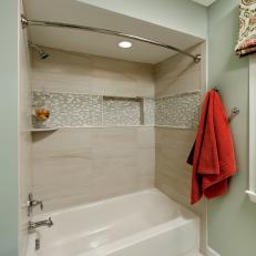 Beau Transitional Shower Bath With Neutral Mosaic Tile