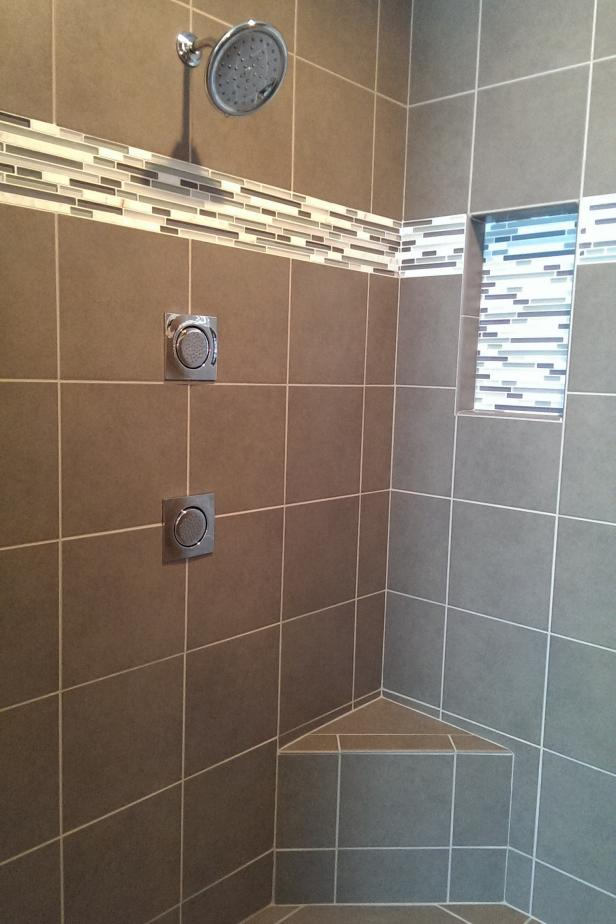 Contemporary Shower With Taupe Format Tile and Neutral Mosaic Tile