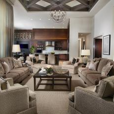 Transitional Neutral Open-Concept Living Room