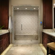 Transitional Neutral Bathroom With Marble Shower