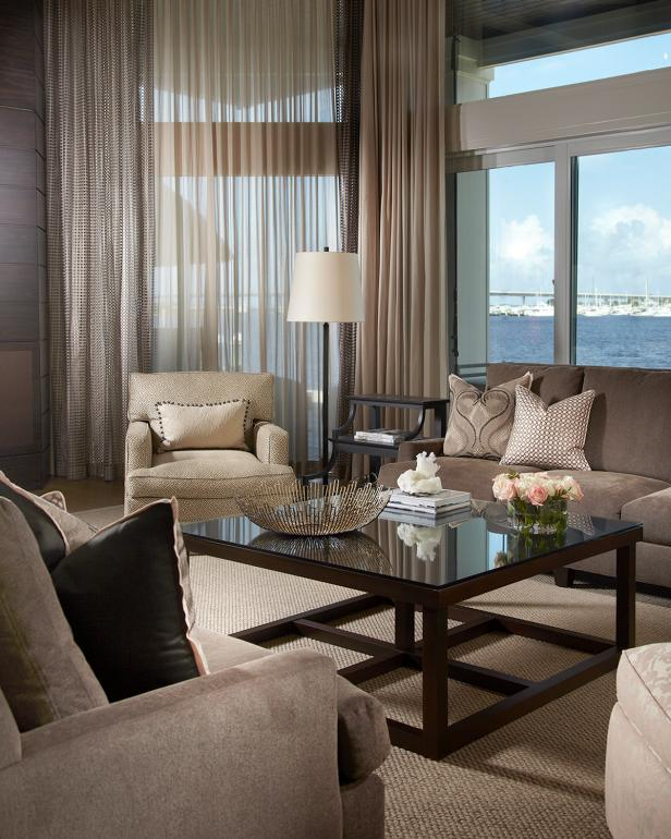 Transitional Living Room With Neutral Furnishings and Ocean View
