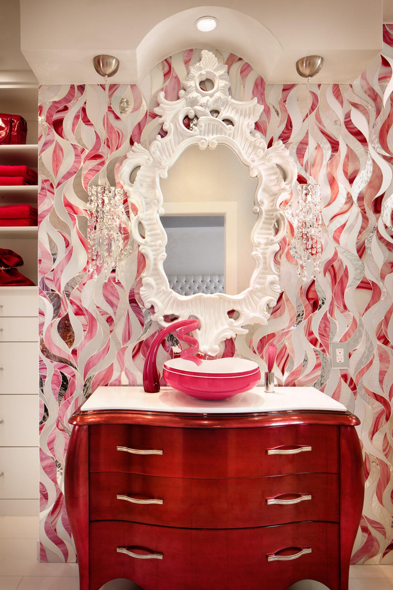Funky Bathroom With Pink Amp White Patterned Vanity Wall Hgtv