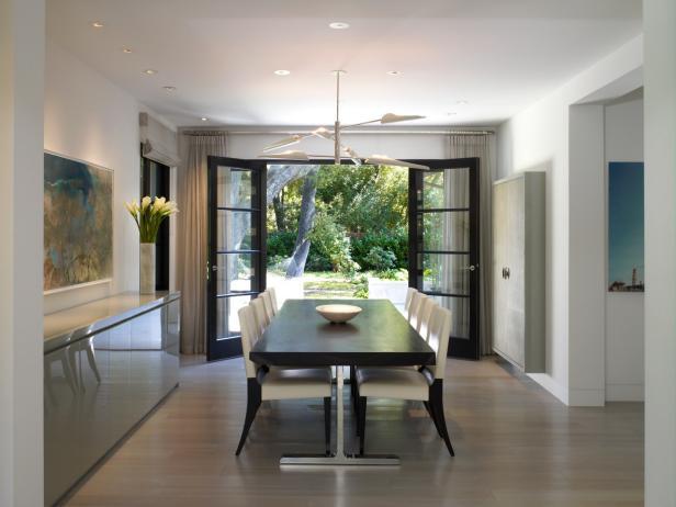 French Doors Open Modern Dining Room To Backyard Hgtv