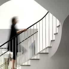 Modern White Curved Staircase