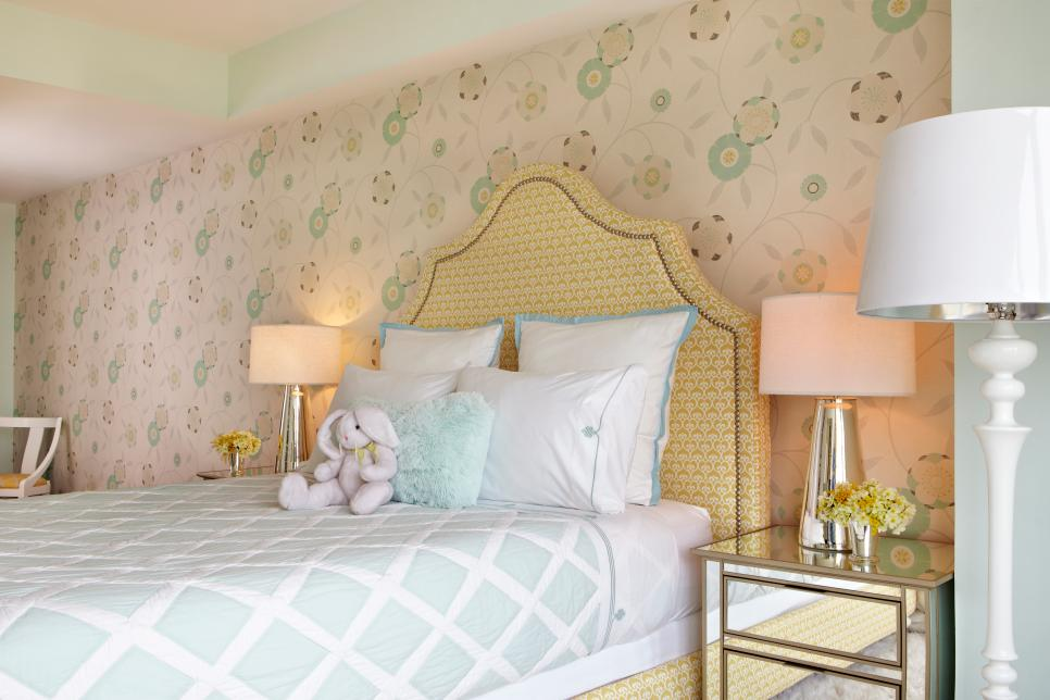 Girl's Feminine Room with Muted Floral Wallpaper