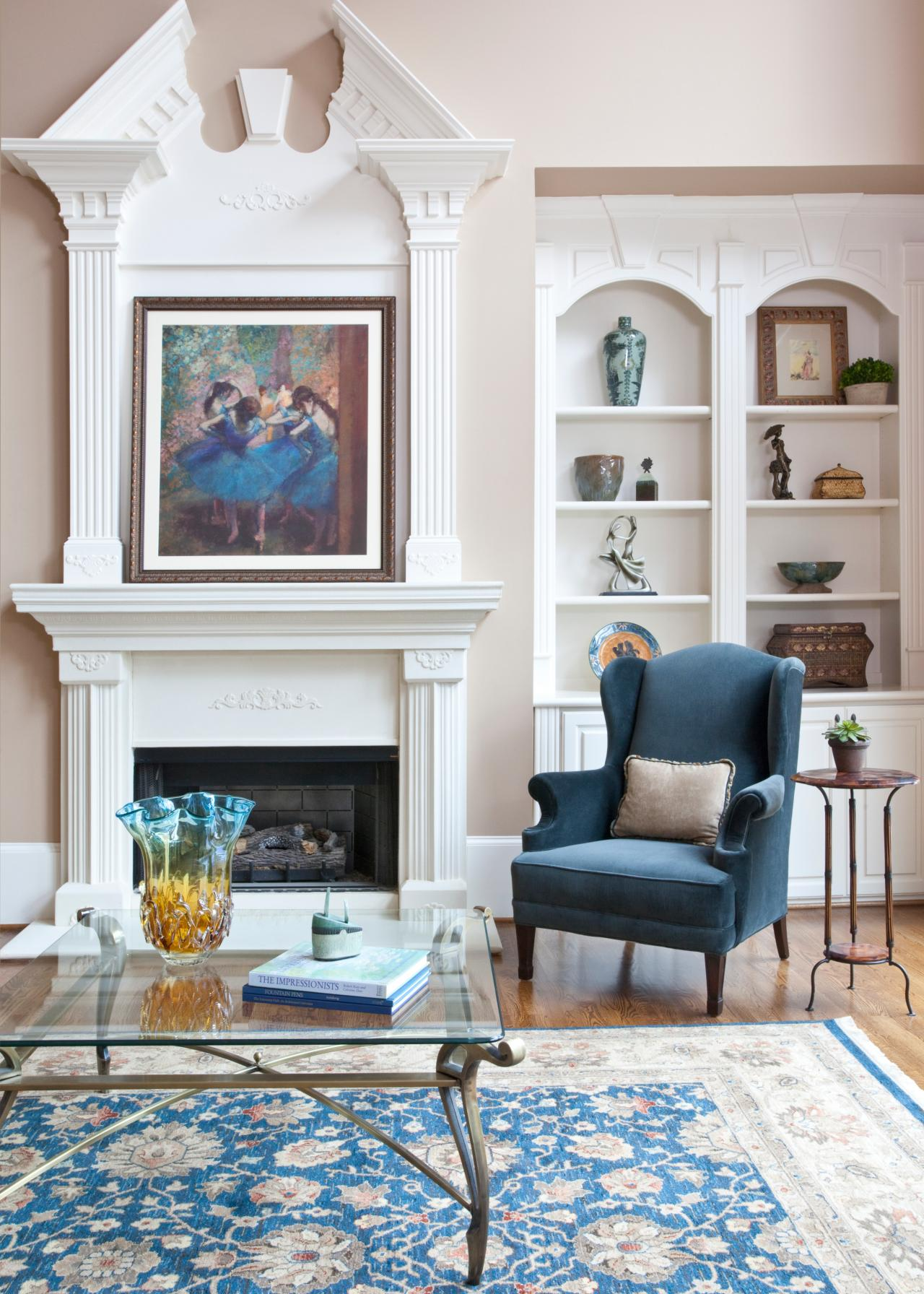 Dramatic Fireplace Mantel In Neutral Traditional Living Room