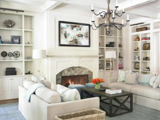 Transitional Living Room With Facing Sofas & Built-Ins Bookshelves