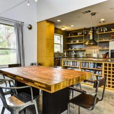 Modern Kitchen and Dining Room with Natural Wood Table