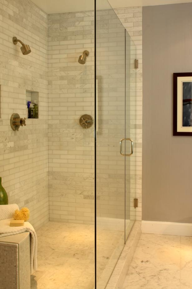 Neutral Contemporary Bathroom With Marble Subway-Tiled Walk-In Shower