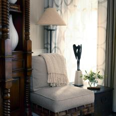 Accent Chair in Corner Reading Nook