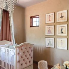 Twin Girls' Nursery With Pink Velvet Tufted Crib