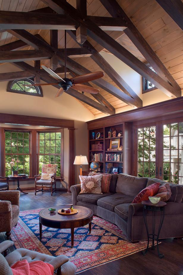 Craftsman Living Space Boasts Beautiful Scissor Trusses Hgtv